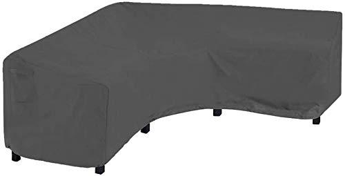Lagaga Funda protectora para sofá seccional de patio, color negro, para jardín, seccional, con cordón, impermeable, resistente al polvo, resistente a los rayos UV (200 x 270 x 82 cm)