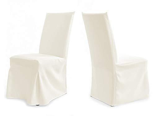 TexDeko Universal Stuhlhussen für extra hohe Lehne bis 112cm - Paris Plus (Creme)