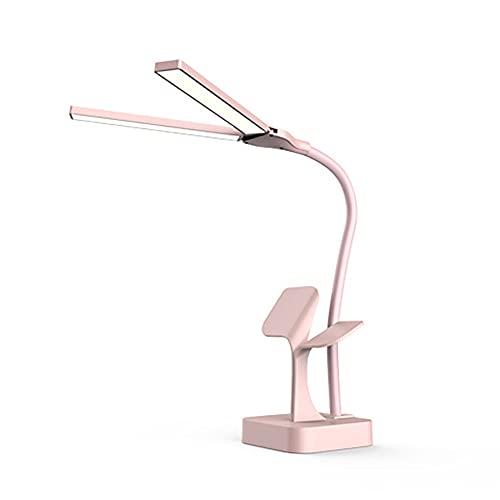Dos cabeza super brillante DIRIGIÓ Lámpara de escritorio para la lectura de la oficina USB RECARGABLE DIMMABLE 3 luces de la mesa de la mesa de la cama adajustable (Body Color : Pink)