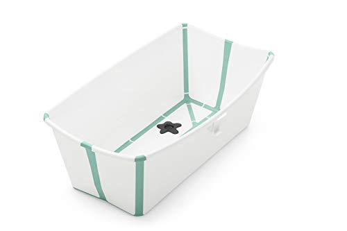 STOKKE® Flexi Bath®│Vasca pieghevole per il bagnetto dei bambini│Vaschetta portatile con base antiscivolo per bambini dai 0 mesi ai 4 anni│Colore: White Aqua