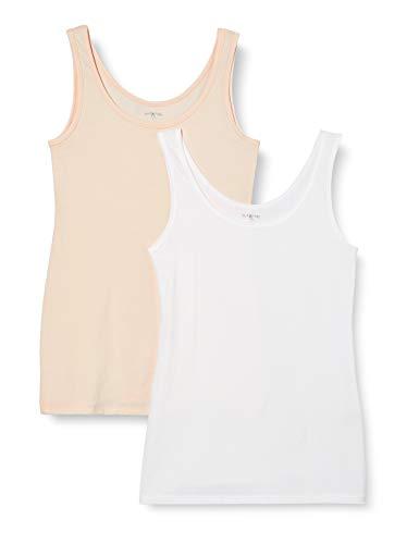 IRIS & LILLY Camiseta de Tirantes de Algodón para Mujer, Pack de 2, 1 x Blanco & 1 x Rosa Claro, Small