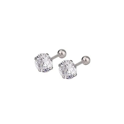DOOLY Pendientes Minimalistas de circonita Blanca de 3/4/5/6mm para Mujer, Pendientes de Plata de Ley 925 de Cristal para Mujer, pequeños Pendientes Redondos