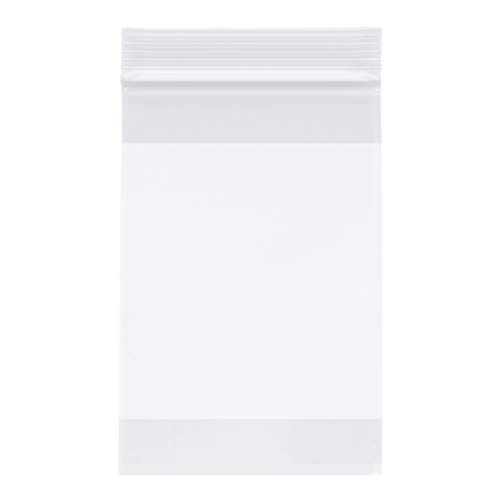 "Plymor Zipper Reclosable Plastic Bags w/White Block, 2 Mil, 4"" x 6"" (Pack of 500)"