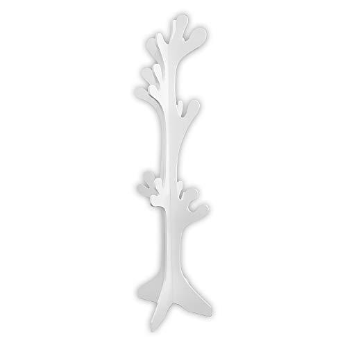 Lupia Albero Appendiabiti da Terra in Legno Bianco 40X170 cm White