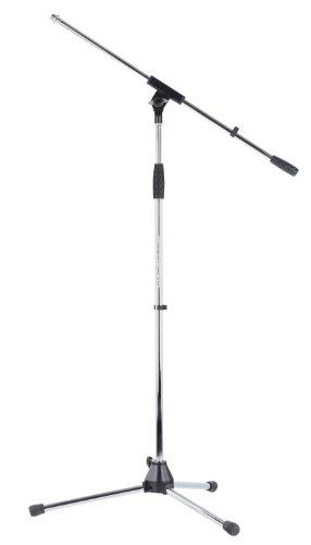 Pronomic MS-25C Mikrofonständer mit Galgen (stabiler Dreibein Galgenständer, höhenverstellbar, inkl. Reduziergewinde und Kabelklemmen, Chrom)