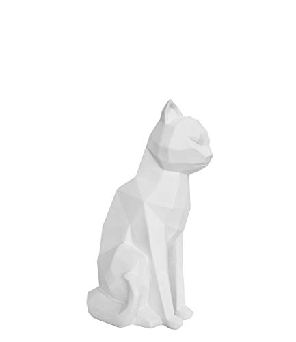 Present Time - Statue Chat Blanc Assis Origami