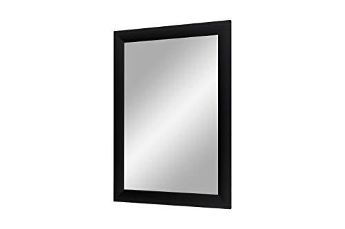 Flex 35 - Wandspiegel 45x45 cm mit Rahmen (Schwarz matt), Spiegel nach Maß mit 35 mm breiter MDF-Holzleiste - Maßgefertigter Spiegelrahmen inkl. Spiegel und stabiler Rückwand mit Aufhängern
