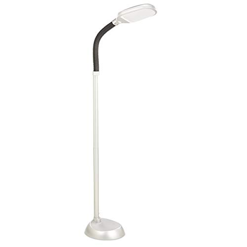 maxVitalis LED-Standleuchte, Tageslicht-Stehlampe, Flexibler Lampenkopf, Augenschonende Stehleuchte, Für Wohnzimmer und Schlafzimmer, Energiesparende Tageslichtlampe (Silber-Optik, LED-Stehlampe)