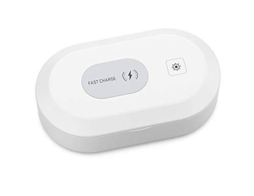 Caja de esterilizador UV portátil con luz UV desinfectante cargador inalámbrico limpiador de teléfono caja de desinfección con función de aromaterapia para teléfono móvil