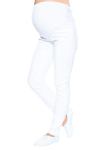 Mija - Schwangerschaft – Röhrenhosen mit extra Bauch-Panel Denim Umstandshose 3015 (36, Weiß)
