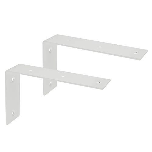Sayayo Soporte de estante Ampliado Soporte de esquina Soporte de ángulo de unión Soporte de estante Colgante de pared 175 mm * 105 mm, acero inoxidable blanco mate, 2 piezas, EJW2200W-2P