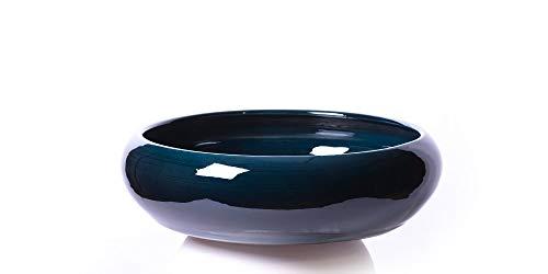 Alfareros Damian Canovas Maceta de Barro y esmaltada en Color Azul Rabel .Modelo Pauly, Medidas 25 cm diametro,10cm de Altura