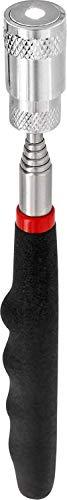 Linterna LED telescópica con imán, incluye 3 pilas LR44, muy clara, extensible hasta 80 cm, fuerza de tracción magnética 3,2 kg