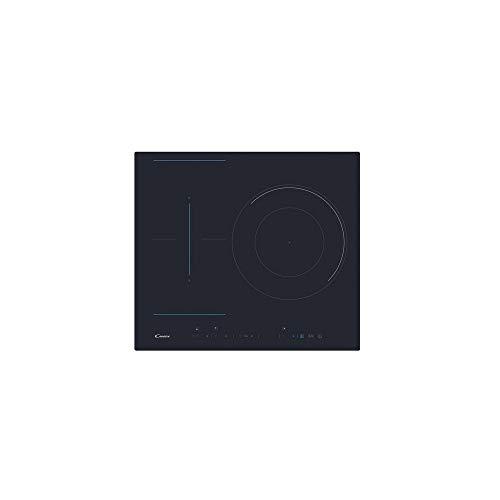 Candy CTP 634DC – Piano di lavoro a induzione, flessibile, con paella a doppia corona, 60 cm di larghezza, 3 zone di cottura, 9 livelli di potenza, serigrafie blu, timer, nero