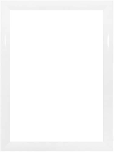 EUROLine35 mm Bilderrahmen für 25 x 20 cm Bilder, Farbe: Weiss Hochglanz, inkl. entspiegeltem Acrylglas und MDF Rückwand, Rahmen Breite: 35 mm, Außenmaß: 30,8 x 25,8 cm