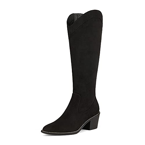 DREAM PAIRS Women's Dkb212 Riding Cowgirl Western Fall Pointed Toe Knee High Boots, Black Suede, Size 7