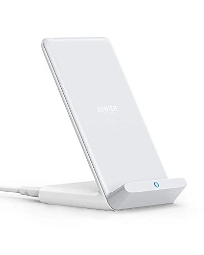 Cargador inalámbrico soporte Anker PowerWave, certificado Qi para iPhone 11, 11 Pro, 11 Pro Max, XR, Xs Max, XS, X, 8, 8 Plus, 10 W de carga rápida Galaxy S20 S10 S9 S8, Note 10 Note 9 y más