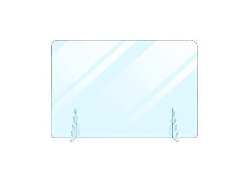No Cutout Protective Sneeze Guard Shield for Counter and Desk,Freestanding Portable Plexiglass Barrier, Shield and Guard for Business, School (24'W x 16'H)