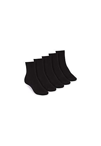 THOKKTHOKK Socken Mittelhoch Schwarz 5er Pack Bio Fair, Größe:L 43-47