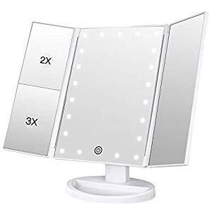 Vivi Bear Maquillage Miroir LED lumière Vanity Mirror avec 22 LED lumières écran Tactile et 3X/2X/1X grossissement Miroir TRI-Fold cosmétique Table Maquillage Miroir, Miroir cosmétique de Voyage