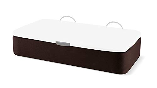Naturconfort Canapé Abatible Ecopel Wengue Premium Tapizado Apertura Lateral Tapa 3D Blanca 90x180cm Envio y Montaje Gratis