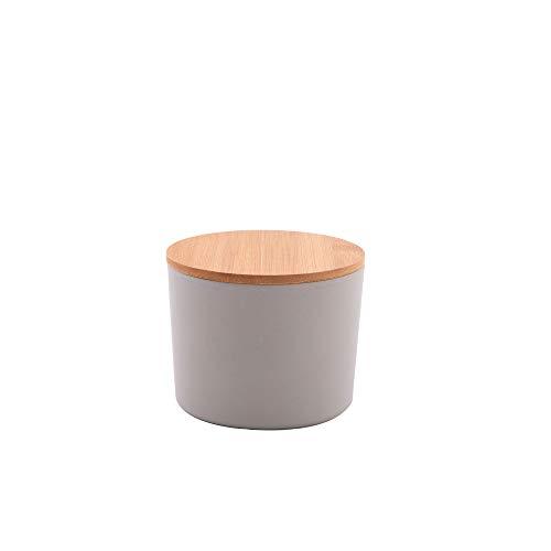 Point-Virgule Keksdose für die Aufbewahrung von Kuchen, Vorratsdosen mit Bambus Deckel, medium, 640 ml, ɸ 12cm H 9.7 cm, Grau