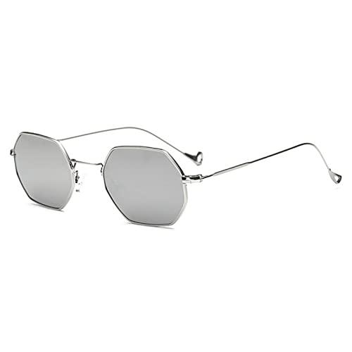 UKKD Gafas De Sol Diseño De Mujeres Gafas De Sol Retro Metal Cuadrado Nuevo Ultraligero Pequeño Marco De Vidrios-C6 Silver Mirror