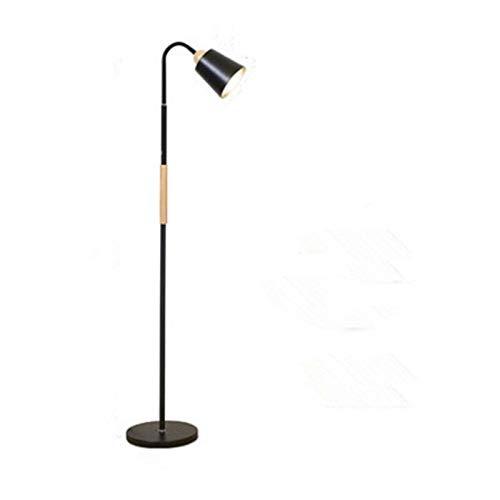 DSM Sala de Estar Lámpara de pie Simple Dormitorio Creativo American Wood Sólido Vertical Lámpara de pie de Cama 136 cm (Color : Black)