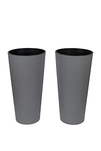 Kreher XXL/XL Pflanztopf der in moderner Beton Optik mit herausnehmbaren Einsatz. Aus robustem Kunststoff in Grau. Höhe 76 cm für XXL und 57 cm für XL (2, XXL)