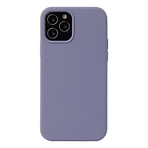 ESONG Funda para iPhone 12/12 Pro, Protección de la Pantalla y la Cámara, Carcasa Silicona Líquida Funda Protectora Fina Parachoques Prueba de Golpes Suave Caso para iPhone 12/12 Pro-Gris Violeta