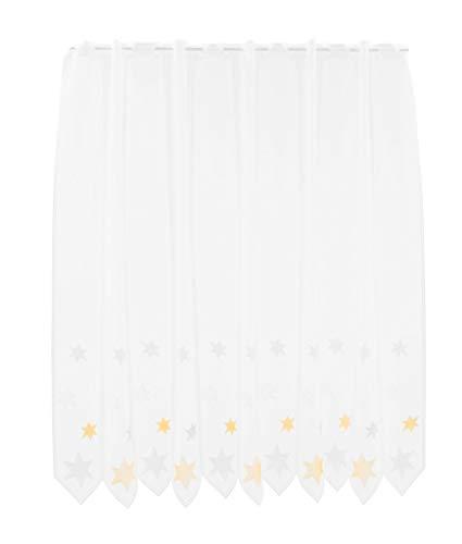 Scheibengardine Sterne 120 cm hoch | Breite der Gardine durch gekaufte Menge in 28 cm Schritten wählbar (Anfertigung nach Maß) | weiß mit gelb/grau | Vorhang Küche Wohnzimmer