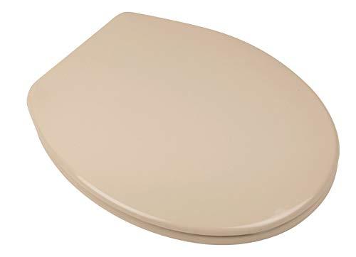 Calmwaters® Antibakterieller WC-Sitz mit Absenkautomatik Essential Soft, Duroplast Toilettendeckel, Fast-Fix, universale O-Form, ovaler Toilettensitz, Komfort Klodeckel, Beige-Bahamabeige, 26LP2912