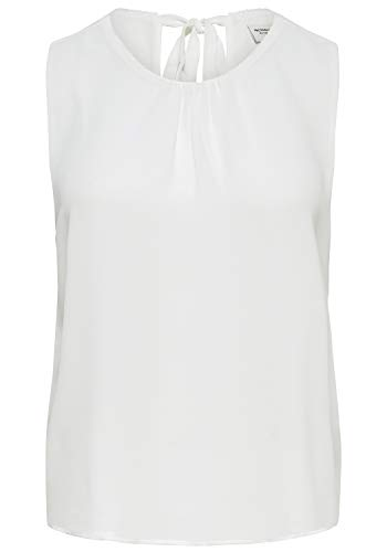 ONLY Leo Damen Top Blusenshirt Kurzarm-Bluse Mit Rundhalsausschnitt, Größe:38, Farbe:Cloud Dancer