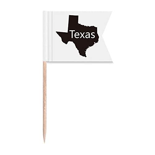 Texas Amerika USA Karte Umriss Zahnstocher Flaggen Markierung für Party Kuchen Lebensmittel Käseplatte
