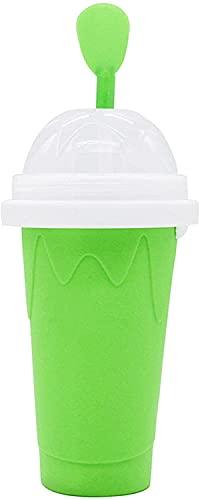 Vaso para Hacer Granizado,DIY Slushy Maker - Vaso de Plástico de Doble Capa para Batidos Verano Caliente Taza de Hielo Magic Slushy Maker Niño Adulto,Grün
