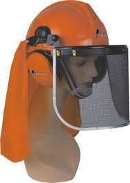 LG Motors–Kit de protección con casco, auriculares, visera, protector para la nuca para desbrozadora, motosierra