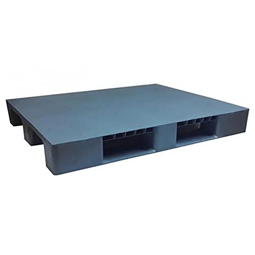 Pallet in plastica riciclata (PP), Mis. 1000 L x 1200 P x 140 H mm, con 2 traverse + 3 piedi, piano chiuso, portata statica 2000 Kg, portata dinamica 1000 Kg