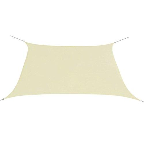 vidaXL Sonnensegel Oxfordgewebe Quadratisch 2x2m Creme Sichtschutz Windschutz