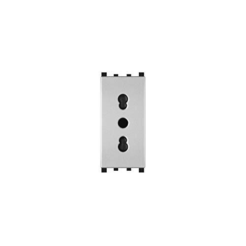 LineteckLED -TOT618A- Serie Completa Materiale Elettrico Fai da Te- Presa Bivalente 16A 250V Compatibile vimar (Grigio)