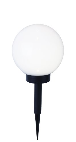 Best Season 477-77 LED-Solar-Kugel, Durchmesser 20 cm, 1 warm weiß LED, abnehmbarer Erdspieß mit Solarpanel, inklusive Akku, outdoor, Vierfarb-Karton, weiß
