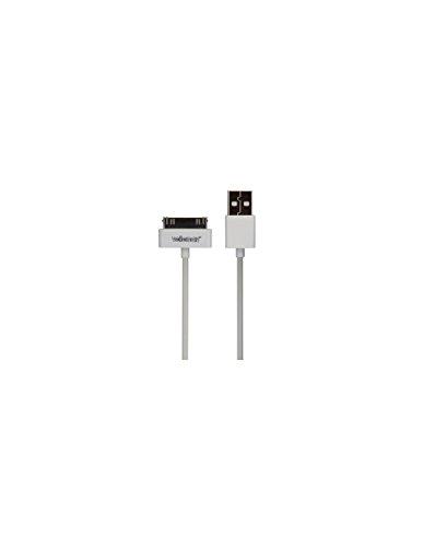 Velleman PCMP66WN 2 A USB Apple 30 Pin Mannelijke Kabel, Wit, 1 m