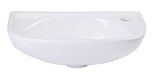 ALFI brand AB102 Porcelain Wall Mount Bath Basin Sink, Small, White