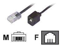 Dadusto 1 Stück Elektro Reduzier-Adapter von RJ45(8p4c) Stecker auf RJ11(6p4c)-Buchse/Kabel: 4-adrig flach und schwarz/Länge 0,15 m