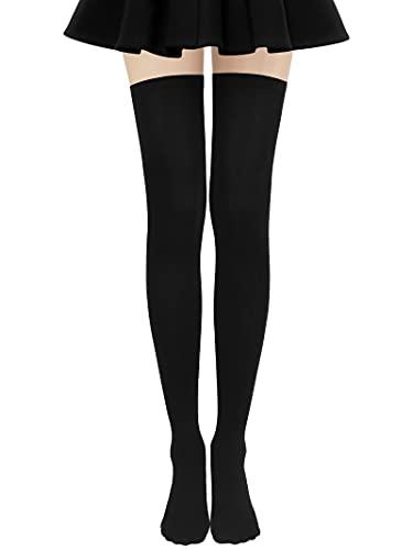 Aneco Extra Long Stocking Thigh High Tights Over Knee Thigh Socks Long Socks Knee Highs Socks for Women (Black)