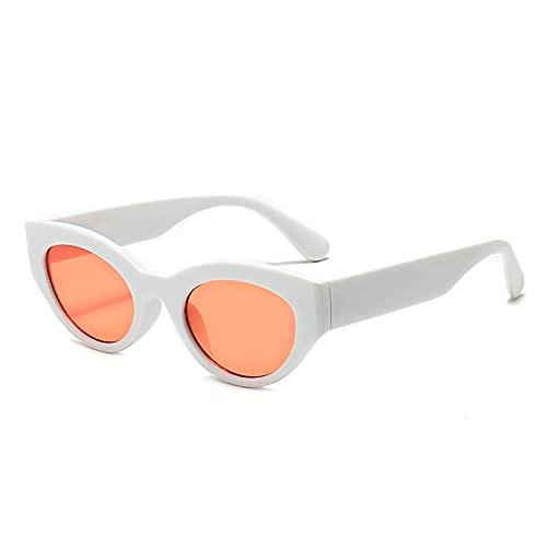 Gafas Gafas de sol masculinas y femeninas de gafas de sol retro Gafas de sol elípticas de la calle-Figura_Diafragma de marco blanco