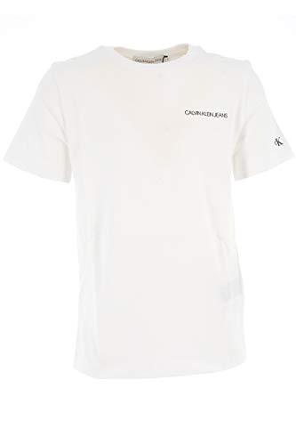 Calvin Klein IB0IB00456 Chest Logo T-Shirt E Canotte Unisex Ragazzi Bright White 14Y