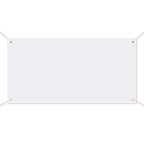 Large Banners and Signs Blank Banner Polyester Oxford Cloth Banner with Hanging Rope for Indoor Wall Outdoor Easy Hang Signs DIY Banner Signs for Business Office and Activities (White, 3.3 x 6 Feet)