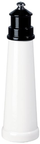 Fletchers' Mill Lighthouse Pepper Mill, White/Black - 9 Inch, Adjustable Coarseness Fine to Coarse, MADE IN U.S.A.
