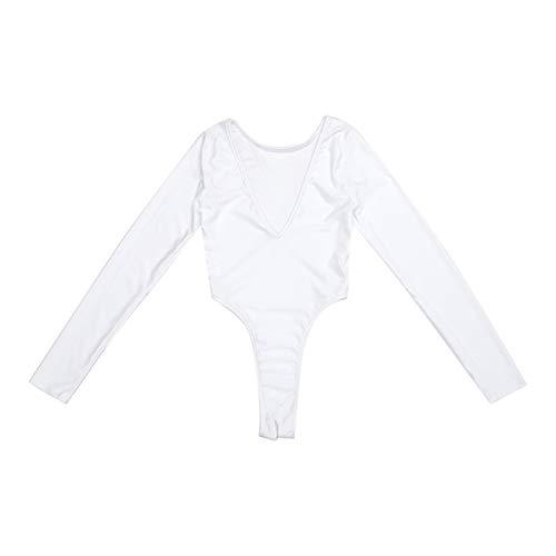 Manga larga para mujer Corte alto Thong Leotard Sheer Sheer Mody Bodsuit Jumpsuit Thong Sin mangas Leotard Nightwear (Color : White, Size : One Size)