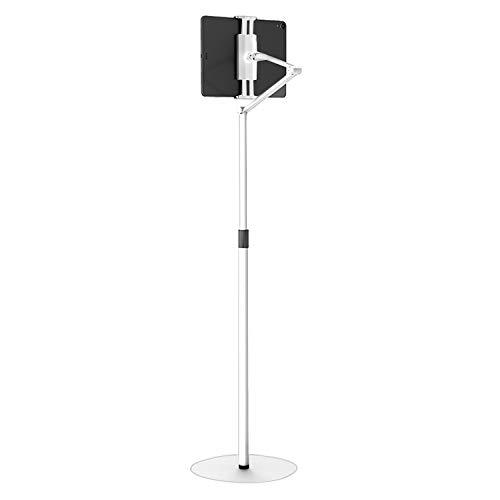 4smarts ErgoFix H6 - Soporte de suelo para tablet (50-180 cm, giratorio 360°, para iPad, tablet y teléfonos móviles de 4,7 a 12,9 pulgadas), color blanco